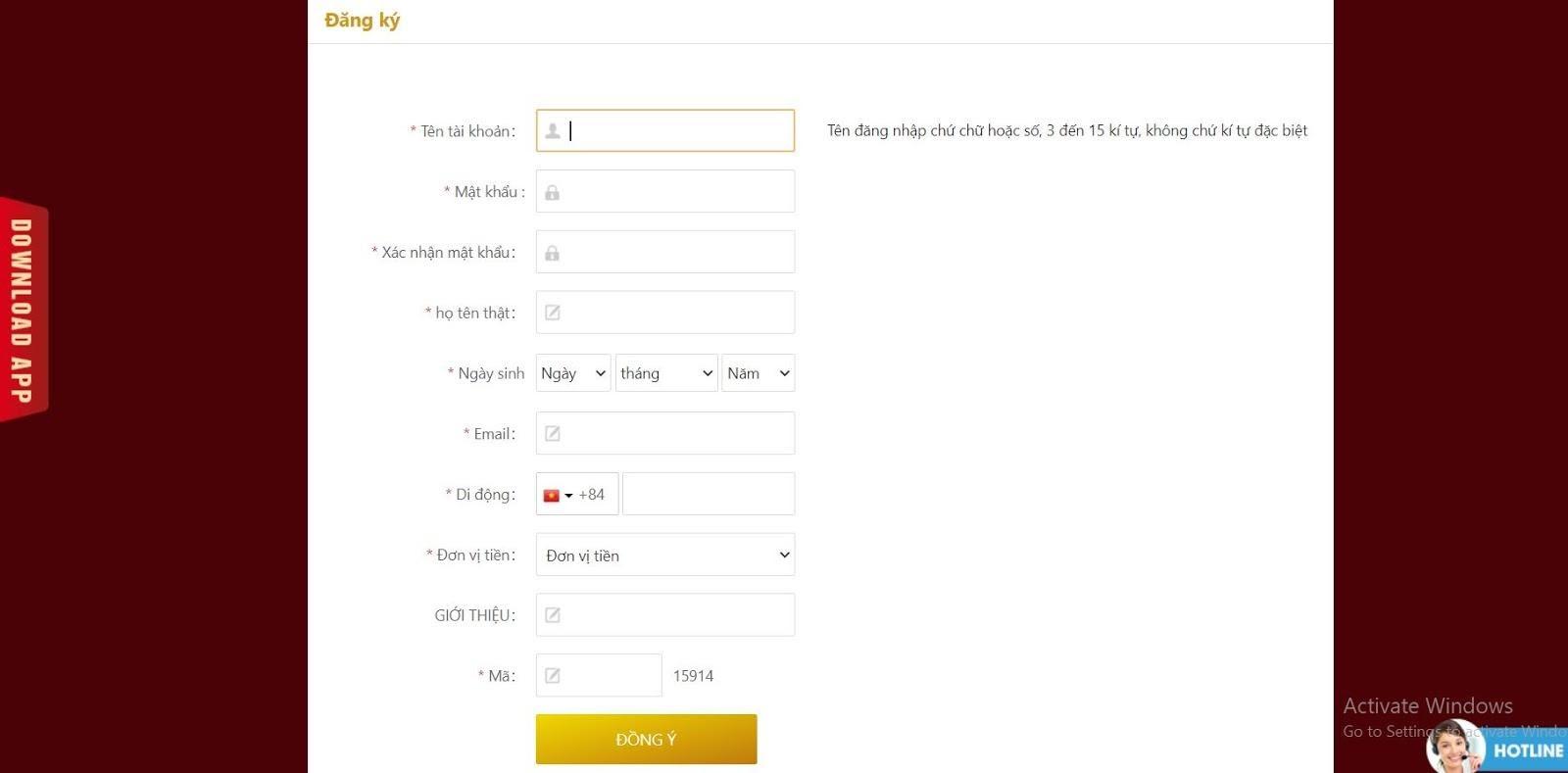 Đăng ký tài khoản ở nhà cái Win2255